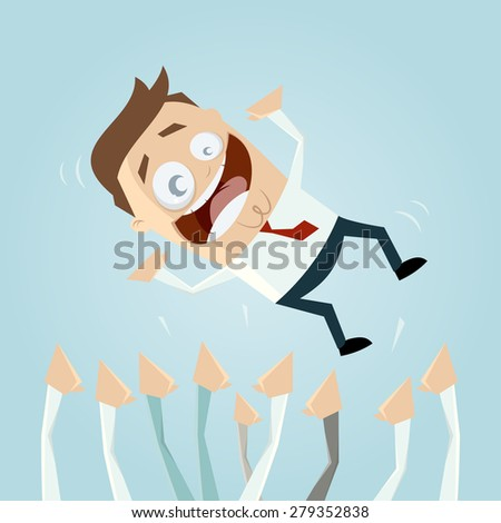 successful businessman is carried by the crowd - stock vector