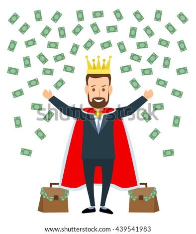 Successful Businessman King Crown Falling Money Stock ...