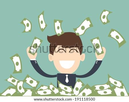 successful businessman  man enjoying the rain of money - stock vector