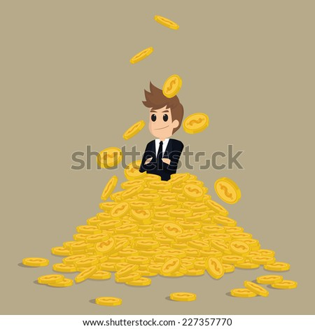 Successful businessman on gold stack coins.vector - stock vector
