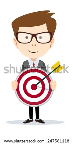 Successful businessman or teacher holding a target with arrow - Stock Vector illustration - stock vector