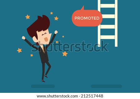 Successful businessman promoted flat design - stock vector