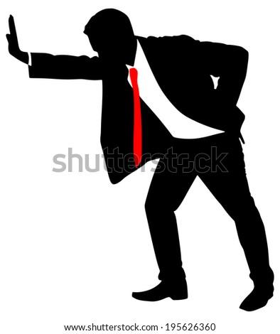 Successful businessman pushing, vector - stock vector