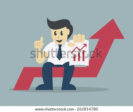 Successful businessman sit on arrow with a growing chart, success concept
