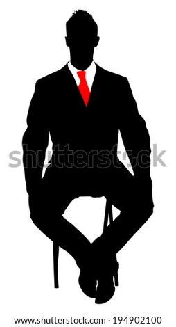 successful businessman sitting on chair, vector  - stock vector
