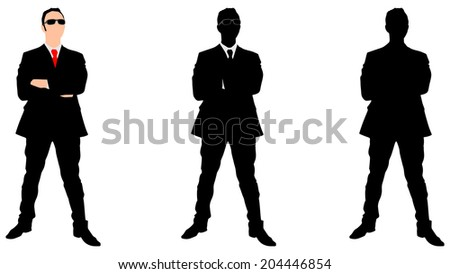 successful businessman wearing sun glasses, vector