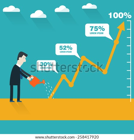 Successful businessman with a growing chart - stock vector