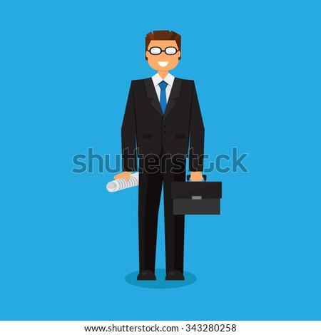 Successful businessman with a suitcase. Thinking list. Template or blank with business concept. Vector - stock vector