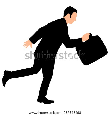 Successful businessman with briefcase running, vector  - stock vector