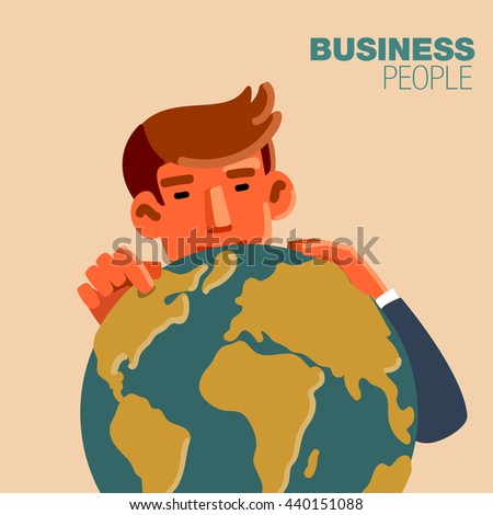 Successful businessman with Earth globe. Business idea, business time, development and strategy concept. New business project concept - stock vector