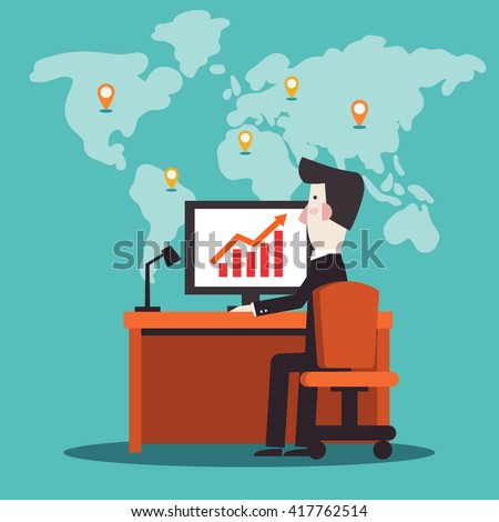 Successful businessman working in office at computer. Stylish illustration in modern colors. Vector flat design. Business man with a growing chart - stock vector