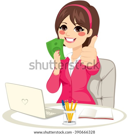 Successful businesswoman with green banknote money fan making thumbs up gesture sitting on office desk with laptop - stock vector
