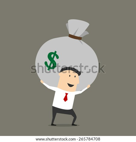 Successful cartoon businessman carrying on his shoulders huge money bag with dollar sign suited for success and profit concept design - stock vector