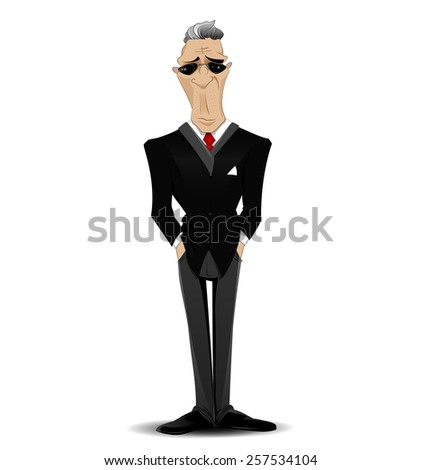 successful cartoon businessman with sunglasses. vector - stock vector