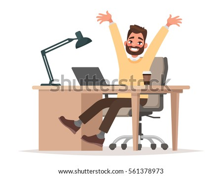 Successful deal or good news. Office worker, businessman  behind the desk raised his hands with joy. Vector illustration in cartoon style
