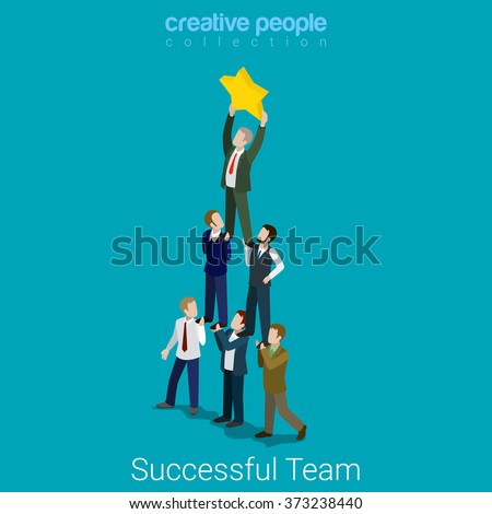 Successful dream team flat 3d isometry isometric business concept web vector illustration. Teamwork businessmen pyramid to reach star. Creative people collection. - stock vector