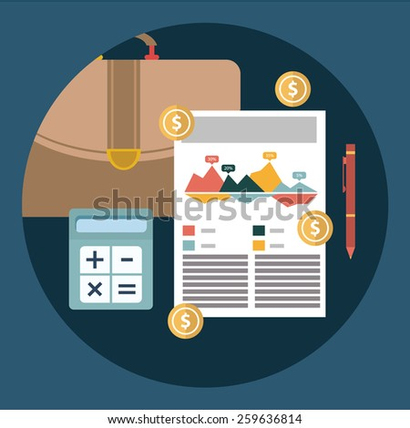 Successful financial business plan report and accounting concept vector illustration - stock vector