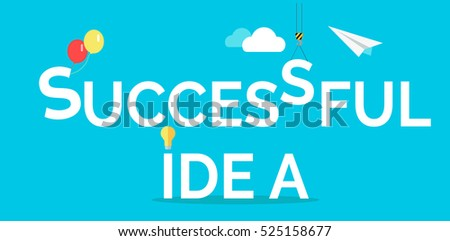 Successful idea web banner. Light bulb, crane hook, clouds, paper plane isolated flat vectors.  Business process. Teamwork and brainstorming concept. For creative company landing page
