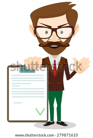 Successful Man Holding a Document in Which All Approved, Validated, Agreed. The Document Put the Green Check Mark, Flags. Vector Illustration - stock vector