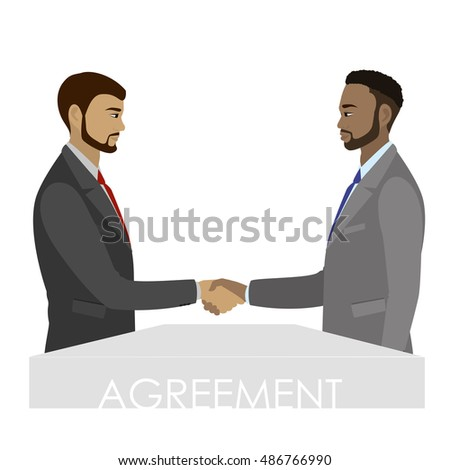 Successful partnership, business people cooperation agreement,hand shake. Vector illustration