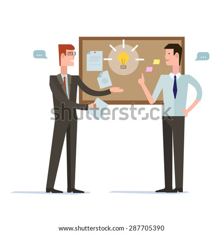 Successful partnership, business people cooperation agreement, teamwork solution and handshake of two businessman Isolated on stylish background. Flat design style modern vector illustration concept - stock vector