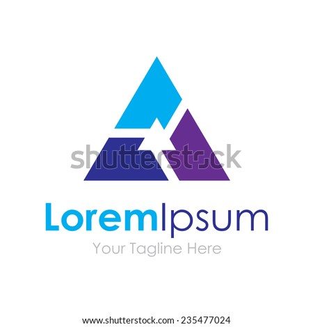 Successful partnership group teamwork technology triangle concept elements icon logo - stock vector