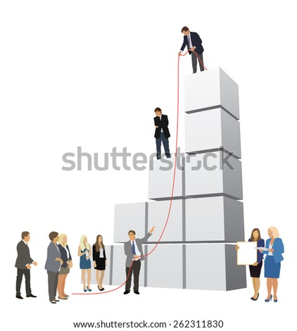 Successful people are working to build large graph - stock vector