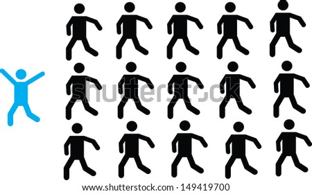 Successful people in front of all on white background - stock vector
