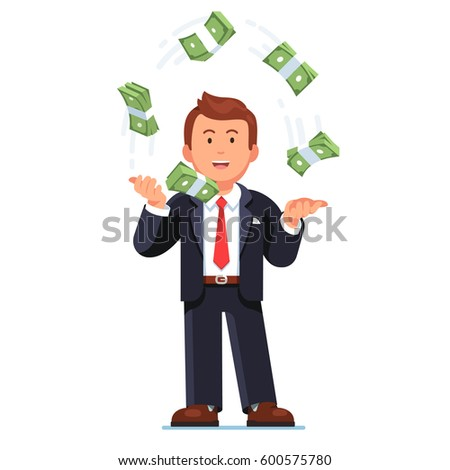 Successful skilled business man in suit standing easy juggling money cash. Trader throwing Dollar bundle straps in air. Flat style modern vector illustration isolated on white background.