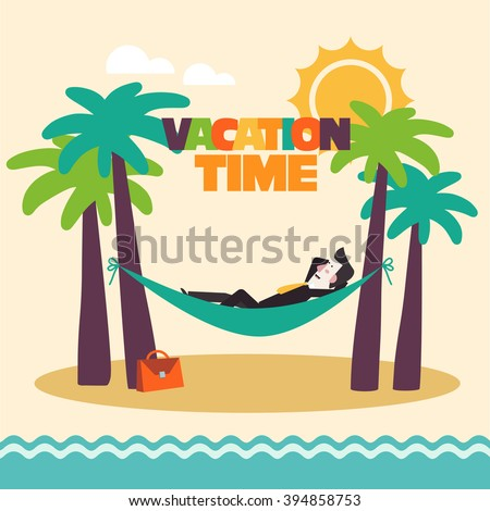 Successful smiling happy businessman relaxing in hammock on the beach. Break, holidays time, vacation, recreation, travel and relaxation vector design. Funny summer landscape background