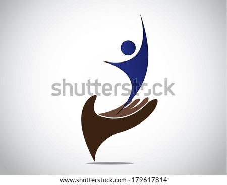 successful talent management of young person and woman concept. happy young male or female silhouette expressing joy with both hands up from a protective hand providing safety art illustration