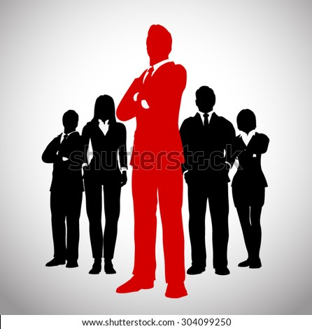 Successful Team Leader. A team of Successful executives led by a great and leader. - stock vector
