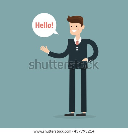 Successful young businessman character saying hello with speech bubble, front view. Business, job, professional, consultant concept. EPS10 vector illustration - stock vector