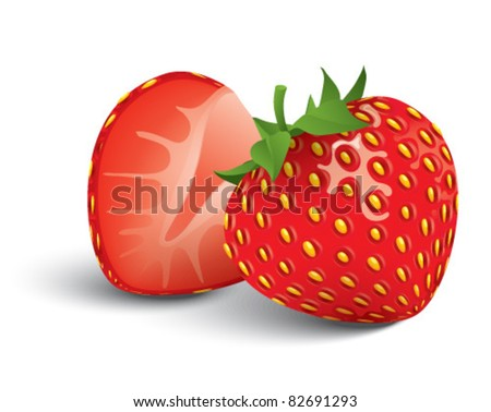 succulent strawberries - stock vector