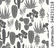 Succulents cacti plant vector seamless pattern. Botanical black and white desert flora fabric print. Home garden cartoon cactuses for wallpaper, curtain, tablecloth. - stock photo
