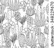 Succulents cacti plant vector seamless pattern. Botanical black and white line desert flora fabric print. Home garden cartoon cactuses for wallpaper, curtain, tablecloth, coloring page. - stock photo