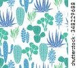 Succulents cacti plant vector seamless pattern. Botanical blue and green desert flora fabric print. Home garden cartoon cactuses for wallpaper, curtain, tablecloth. - stock photo