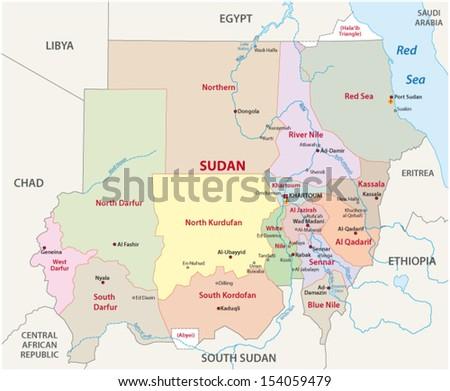 Sudan Administrative Map Stock Vector 154059479 Shutterstock