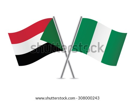Sudan and Nigeria flags. Vector illustration.