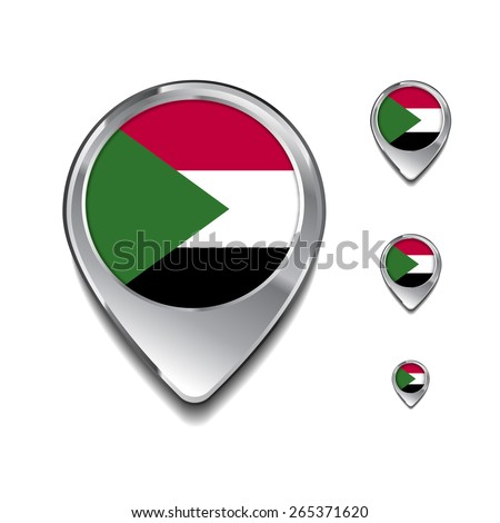 Sudan flag map pointer. 3d Map Pointer with flag glossy button style on gray background - stock vector