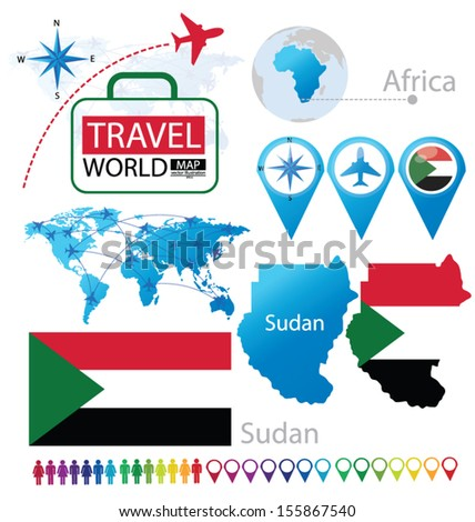 Sudan. flag. map. Travel vector Illustration.