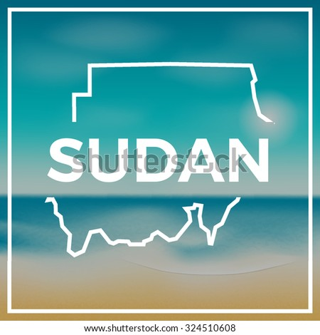 Sudan map against the backdrop of beach and tropical sea with bright sun. EPS10 vector