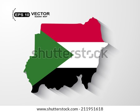 Sudan map with shadow effect - stock vector