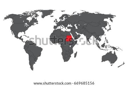 Sudan Red On Gray World Map Stock Vector 669685156 - Shutterstock