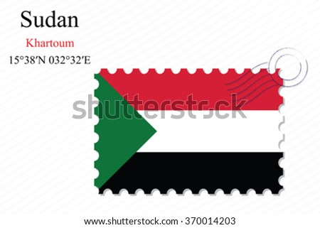 sudan stamp design over stripy background, abstract vector art illustration, image contains transparency