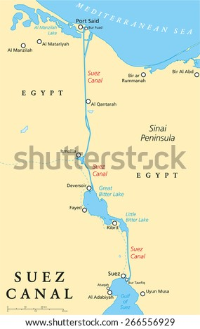 Suez Canal Political Map Artificial Sealevel Stock Photo Photo