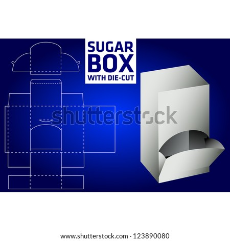 Sugar box with die-cut - stock vector