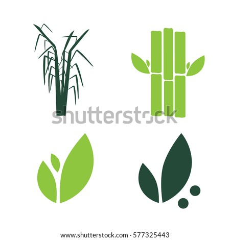 Sugar cane flat icons set illustration vector. Sugar cane vector