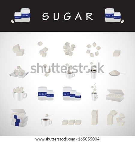 Sugar Icons Set - Isolated On Gray Background - Vector Illustration, Graphic Design Editable For Your Design - stock vector