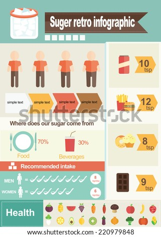 sugar of infographic - stock vector